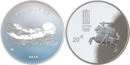 "Swimming/"" Silver PROOF Lithuania 20 euro 2016 /""XXXI Olympic Games"
