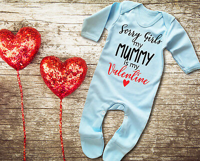 Sorry Girls My Mummy is my Valentine Rompersuit Sleepsuit Baby Grow Valentine/'s