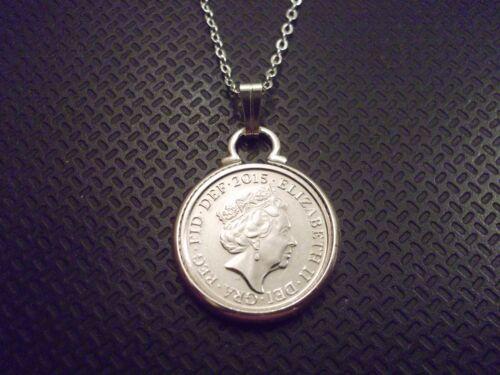 Cinco peniques Colgante Collar Chapado En Plata /& 5p Pieza Moneda de Reino Unido