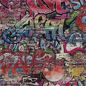 Multi Graffiti Wallpaper Urban Street Art on Brick Effect 05530-10