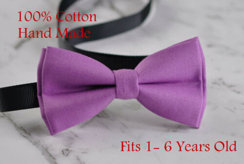 Kids Toddler Boy Orchid Purple Bow tie and Navy Elastic suspenders 1-8 Years Old