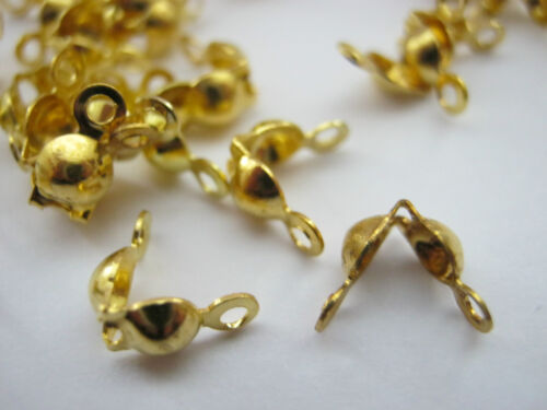 100 Gold Calottes Crimps Clams Bead Ends Jewellery Fastenings Jewellery Findings