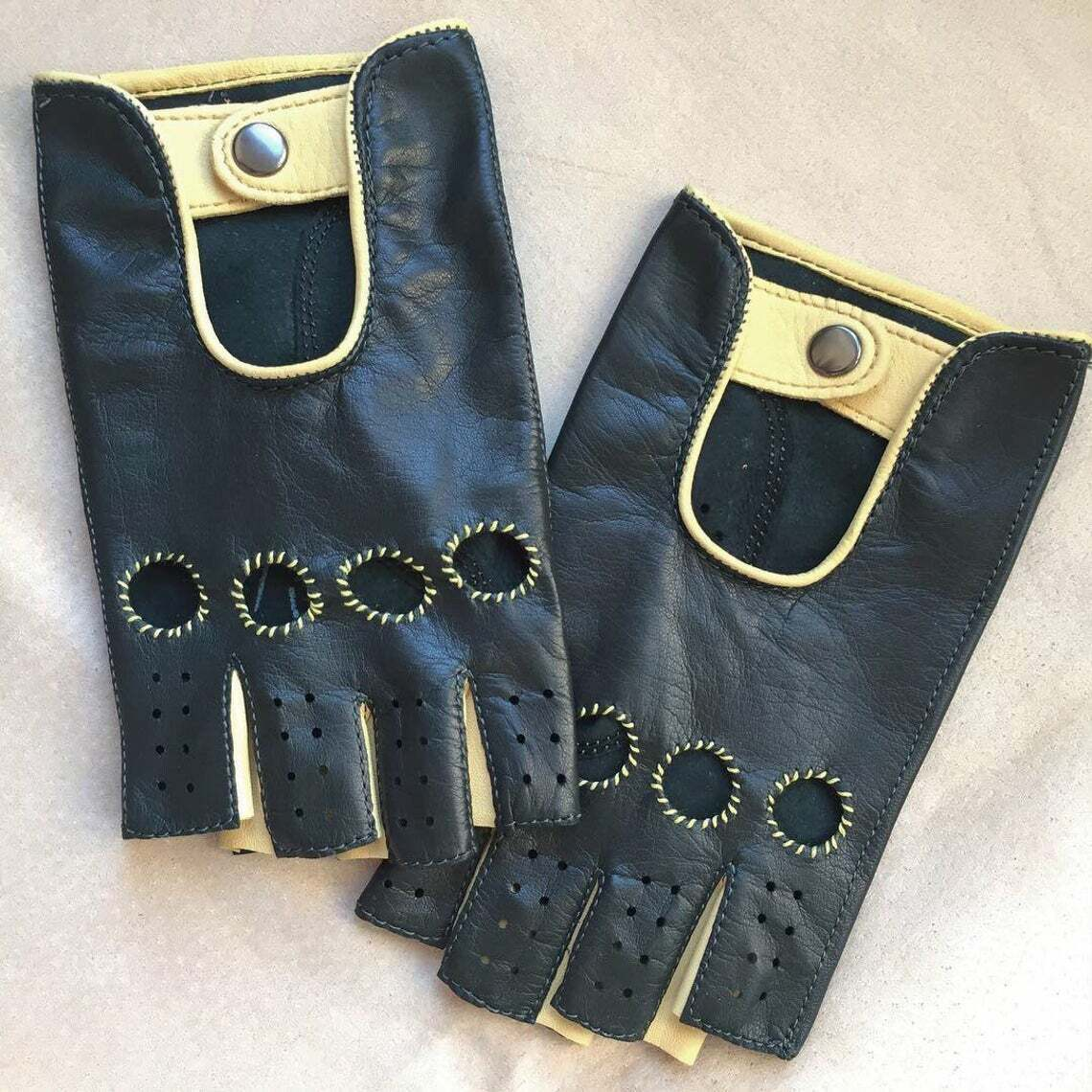 Black & Yellow Driving Cycling Fitness Leather Handmade Gloves