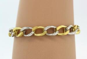 Estate-Cuban-Wide-Link-Diamond-Bracelet-18K-Two-Tone-Gold-0-50-CTW-Diamonds-7-5-034