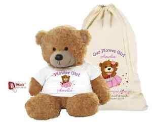 Grosses Soldes Personnalisé Mariage Teddy Bear / Flower Girl / Demoiselle D'honneur Cadeau Et Sac-pétales-afficher Le Titre D'origine
