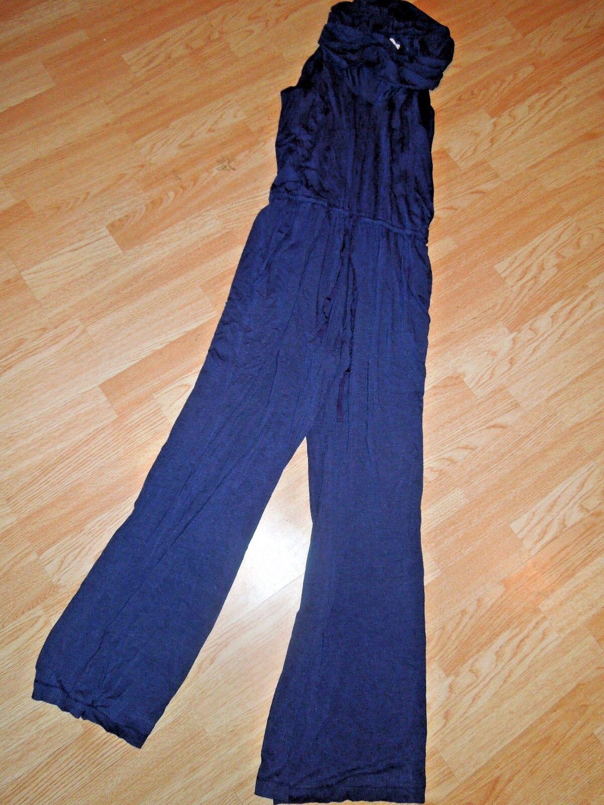 MAX STUDIO Romp Around ROMPER shirt PANTS  one piece  SMALL S  bluee