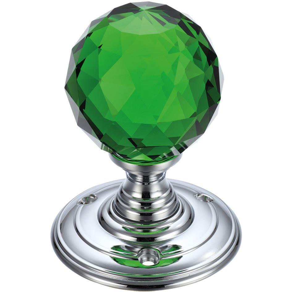 Murano  Grün Diamond Cut Glass Mortice Knob Set
