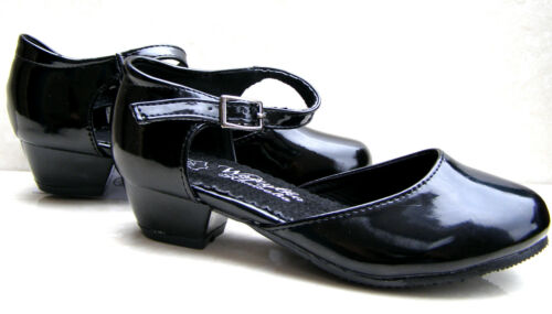 GIRLS LEATHER INSOLES FORMAL HEELS BLACK SHINY PATENT BUCKLE SCHOOL PARTY SHOES