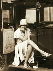 Vintage-1920-039-s-FLAPPER-Antique-Automobile-PUPPY-Dog-PHOTO-CANVAS-Art-PRINT