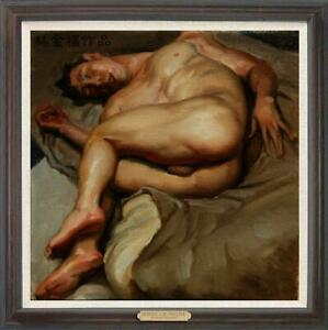 "Hand painted Original Oil Painting Portrait art boy male nude on canvas 30""x30"""