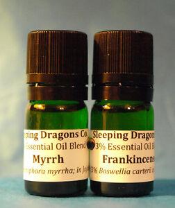 Frankincense-amp-Myrrh-2-Essential-Oils-in-jojoba-5mls-Green-Glass-Eurodroppers
