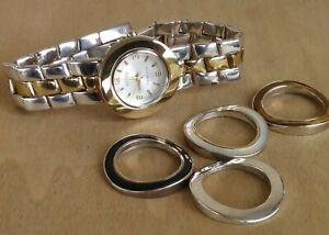 Ecclissi  REVERSIBLE Bracelet Watch Solid Sterling 66.9 g W/5 Bezels New Battery