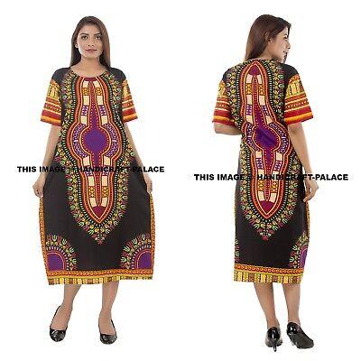 Dashiki African Poncho Tribal Long Shirt Maxi Kaftan 100/% Cotton Bright Colors
