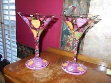 "Set of 2 Lolita Valentine's Day MARTINI GLASSES ""LOVE"" Candy Hearts Proposal"
