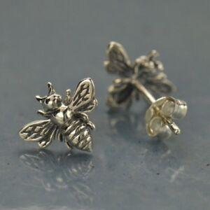 Sterling-Silver-925-Bumblebee-Honey-Bee-Studs-Stud-Post-Earrings-Gift