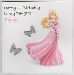 Personalised handmade disney princesses birthday card daughter image is loading personalised handmade disney princesses birthday card daughter sister bookmarktalkfo Images