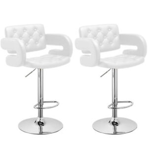 Terrific Details About 2X Swivel Pu Leather Bar Stools Breakfast Kitchen Chair Padded Armchair White Pabps2019 Chair Design Images Pabps2019Com