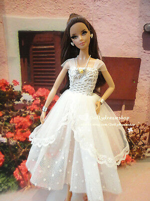 Doll dress ~ Mattel Model Barbie White Lace Gown Dress outfit set#L-129 NEW