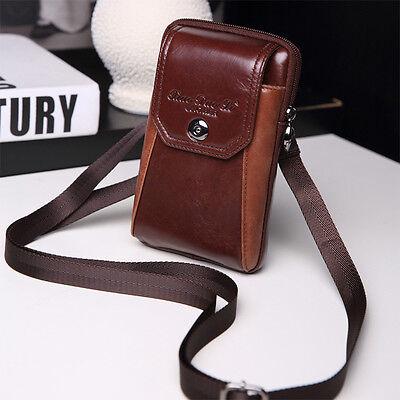 Men Genuine Leather Rivets Messenger Sling Chest Belt Pouch Fanny Pack Waist Bag
