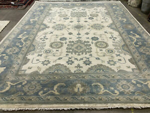 9x12 WOOL HAND-KNOTTED RUG muted handmade ushak carpet mute oriental beige blue