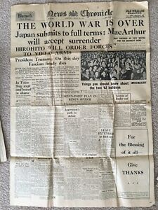 Authentic-Original-Wartime-Newspaper-War-Over-NEWS-CHRONICLE-Aug-15th-1945