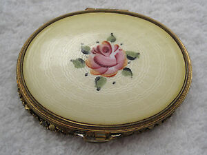 Antique-Yellow-Guilloche-Enamel-Compact-with-Pink-Rose-Stunning