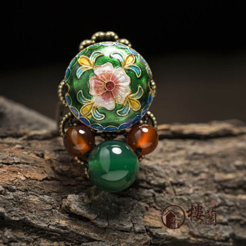 Chinese antique Cloisonne flower GREEN /& RED agate copper Adjustable ring
