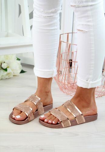 Ladies Womens Strappy Slip On Sliders Mule Summer Flatform Sandals Shoes Sizes