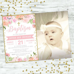 BAPTISM-INVITATIONS-GIRL-INVITE-PINK-FLORAL-GOLD-CHRISTENING-PARTY-SUPPLIES