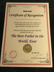 Unusual-Christmas-Birthday-Gift-Best-Dad-Grandad-Mum-Nan-Certificate-Present-B