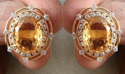 1.28ct Diamond 14k Yellow Gold Golden Topaz Classic Wedding Earrings