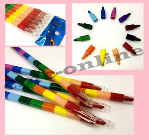 Wax Crayon Swap Point Bullet Pencil 12 Multi Colours Kids Children Fun Stacking