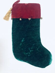 Plush-Red-And-Green-Christmas-Stocking-With-Gold-Tassel-And-Hand-Sewn-Bells-18