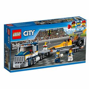 60151-LEGO-City-Great-Vehicles-Dragster-Transporter-333-Pieces-Age-5-12-New-2017