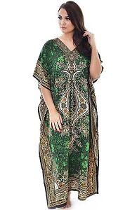 Long-One-Size-Green-Kaftan-Boho-Maxi-Evening-Gown-Casual-Free-size-Kimono-Dress