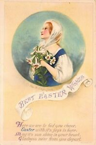 Clapsaddle-Easter-Postcard-Woman-Holding-White-Lily-Flowers-116401