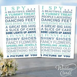 Personalised 2 x Wedding I Spy Game Camera Kids Table Activity Favour Set Cards