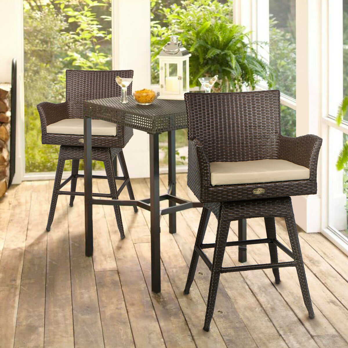 Swell Outdoor Patio Furniture All Weather Brown Pe Wicker Swivel Bar Stool Set Of 2 Andrewgaddart Wooden Chair Designs For Living Room Andrewgaddartcom