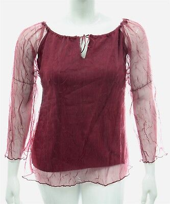 Womens New Red Stiff Crushed Chiffon Body Lined Top Plus Size Key Hole 16 to 26