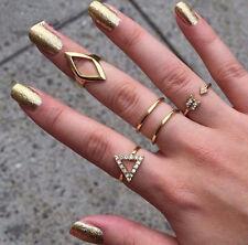 4Pcs New Fashion Women Jewelry Gold Plated Rhinestone Ring Set Gift SIZE 5~10