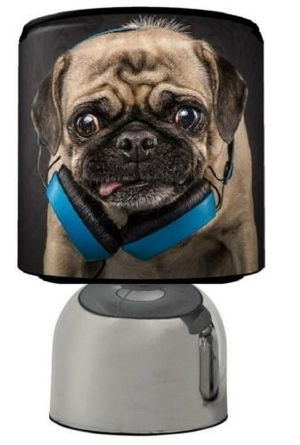 """TOUCH LAMP COOL PUG LIGHT SHADE 11/"""" CANVAS PICTURE SET  KIDS FREE  P /& P"""