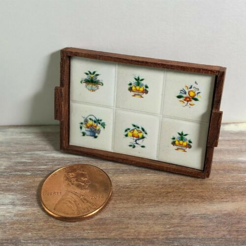 Dollhouse miniatures 1:12 Wooden Tray with Floral Tile Decorations