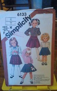 Vintage-Simplicity-6133-girls-skirts-poodle-pleated-kilt-styles-sz-4-NEW