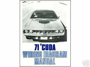 1971 71 BARRACUDA/CUDA WIRING DIAGRAM MANUAL | eBay  Barracuda Wiring Diagram on pink barracuda, custom barracuda, green barracuda, craigslist barracuda, black barracuda, hemi barracuda,