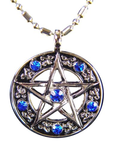 """stainless steel pentacle blue zircons 24/"""" chain necklace pendant  6721K BUTW"""