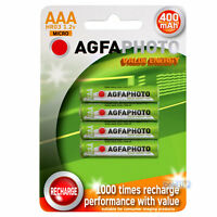 AGFA AAA Rechargeable Home Phone Batteries Power 400mAh Pack of 4 small size