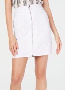 INC-Women-Mini-Skirt-White-Size-Large-L-O-Ring-Zip-Front-Mid-Rise-59-319