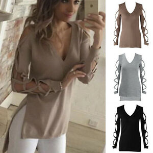 Womens-Summer-Long-Sleeve-High-Low-Cut-Out-Shirt-Casual-Blouse-T-shirt-Long-Tops
