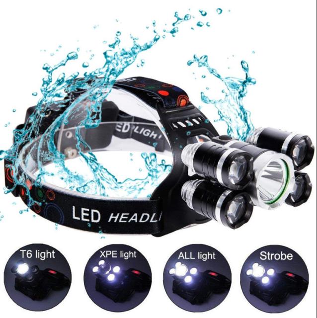 90000LM 5 Head XM-L T6 LED 18650 Headlamp Headlight Flashlight Torch Light