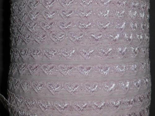 10 metros muy pálido Rosa Corazones estrecha franja de encaje de corte 1cm Costura Superior Vendedor